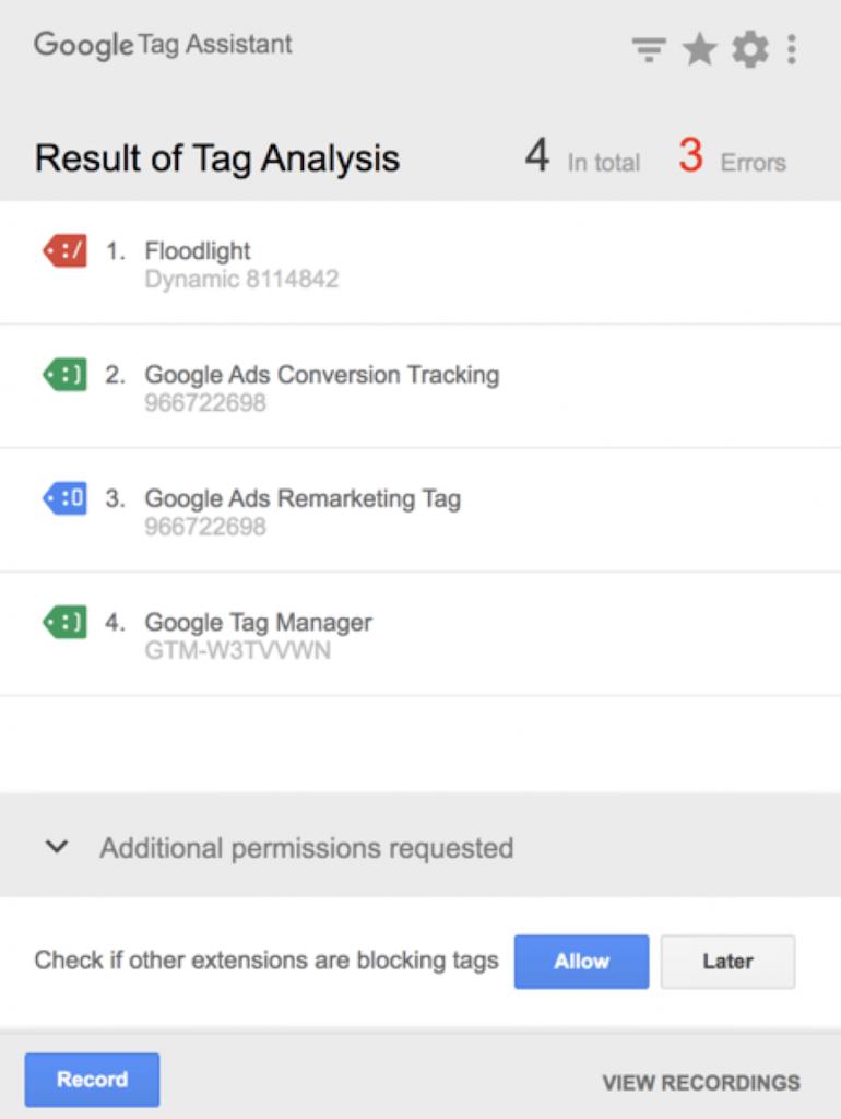 Google Tag Assistant report