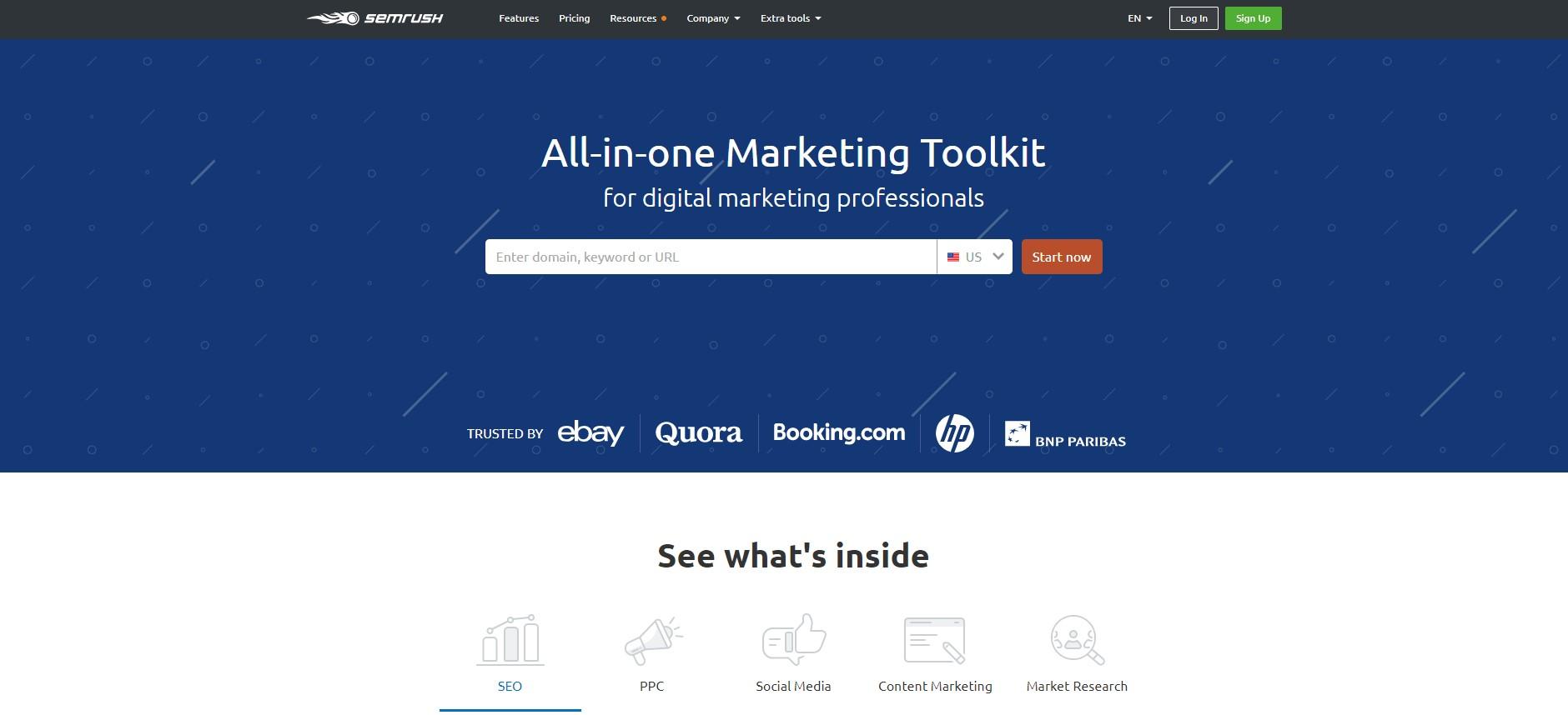 SEMrush content audit tool homepage
