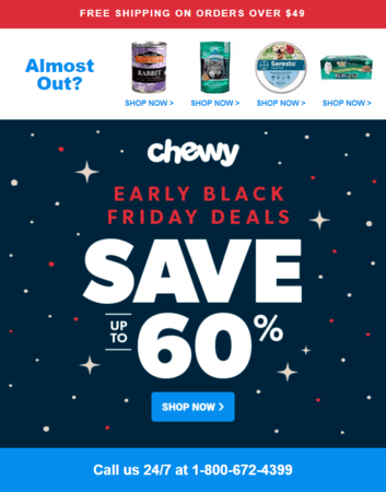 Black Friday email marketing example: Chewy