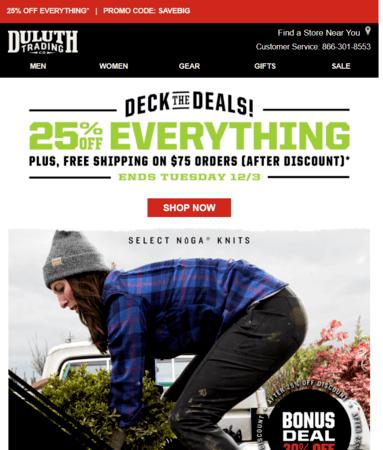 Black Friday email marketing example: Duluth Trading Company
