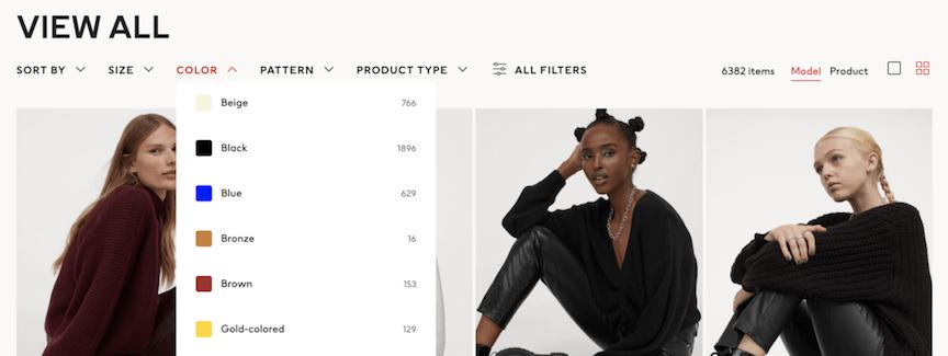 Ecommerce navigation filters on H&M's website