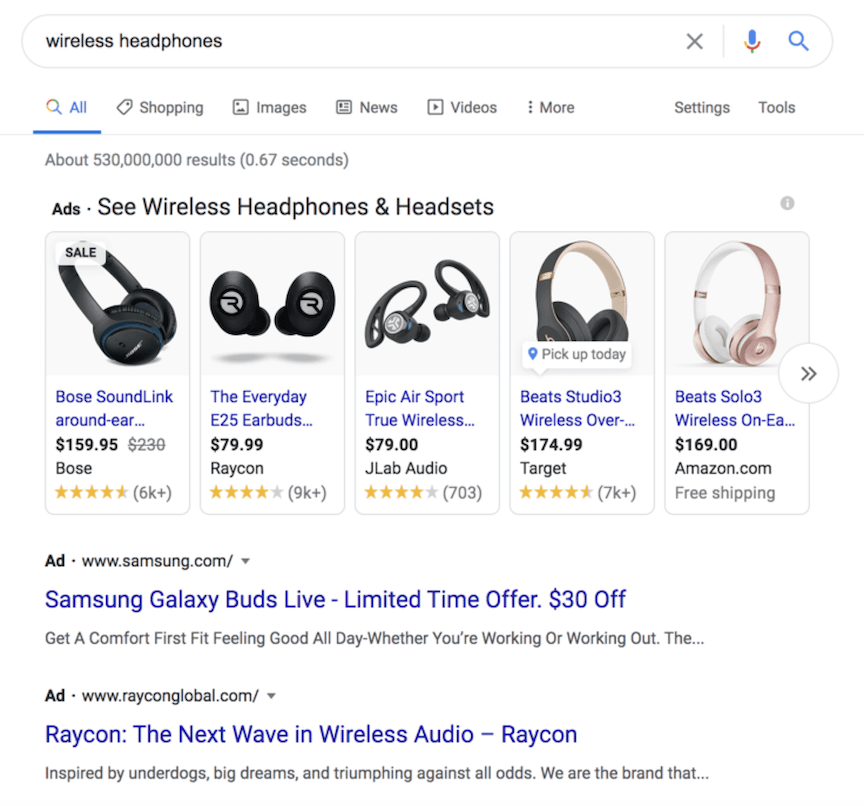 Ads for wireless headphones on Google search