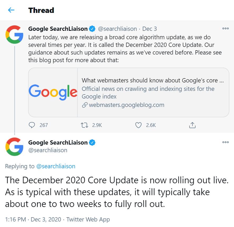 Google announces a December 2020 Core Update on Twitter