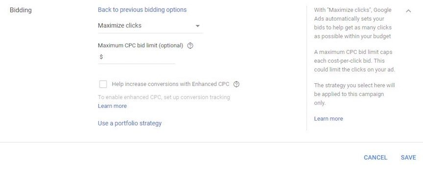Google Ads automated bidding to maximize clicks