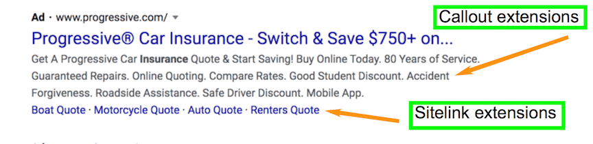 Ad extensions for insurance company ad