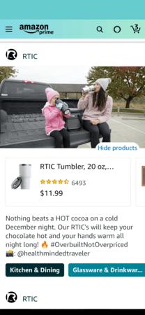 Amazon Posts example detail: RTIC