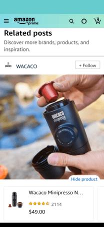 Amazon Posts example detail: WACACO