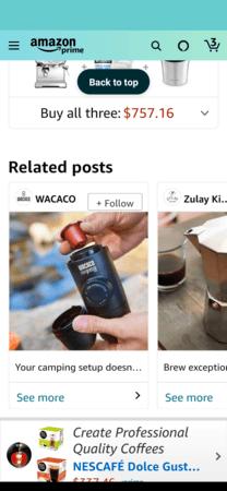 Amazon Posts example: WACACO