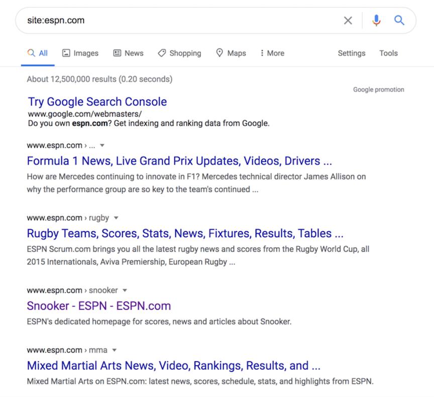 在Google上进行ESPN网站搜索