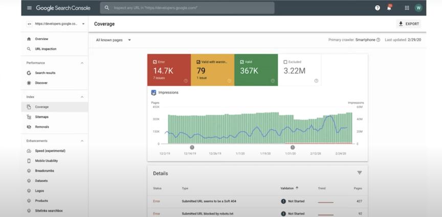 Google Search Console覆盖率报告