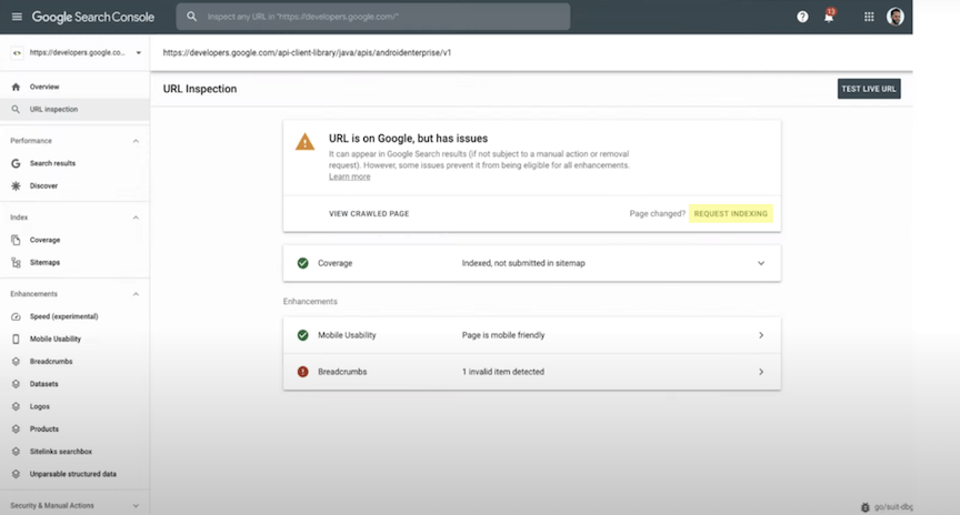 如何使用Google Search Console URL检查工具请求索引