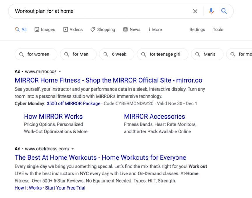 workout plan PPC ads