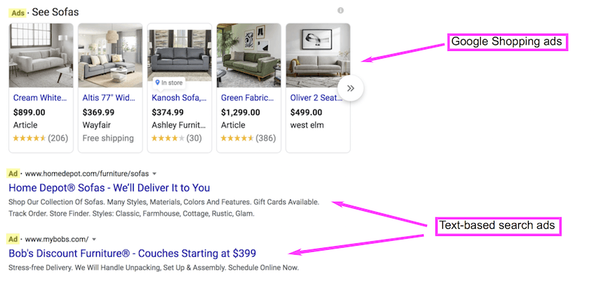 ads for couches on Google SERP