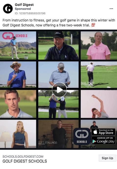 Facebook ad for golf digest