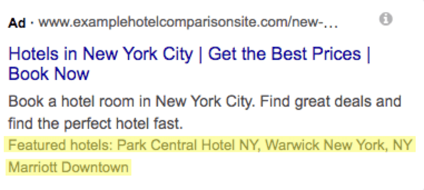 structured snippet featured hotels example