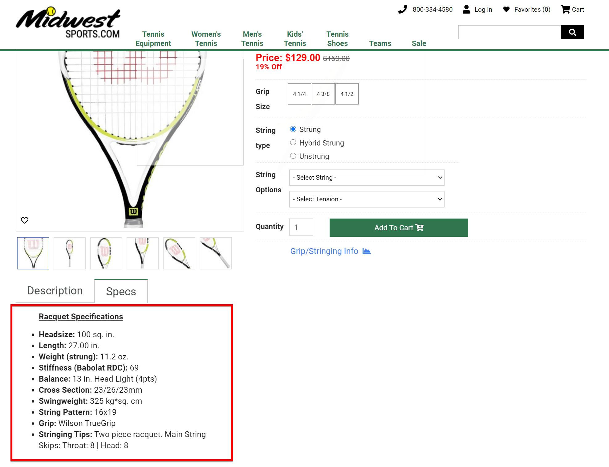 Specs for a tennis racquet