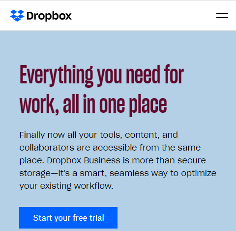 Mobile version of the Dropbox website