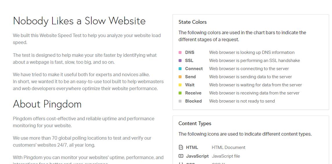 screenshot of pingdom website