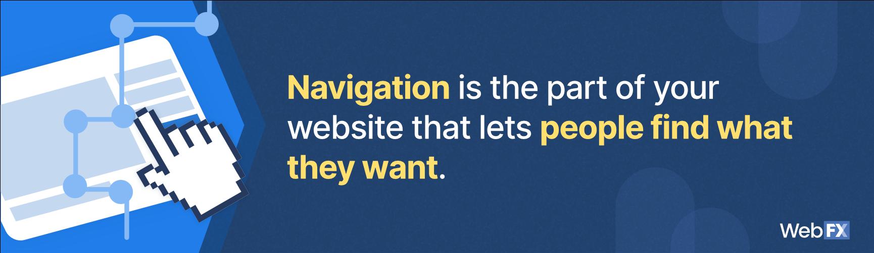 The definition of navigation in web design