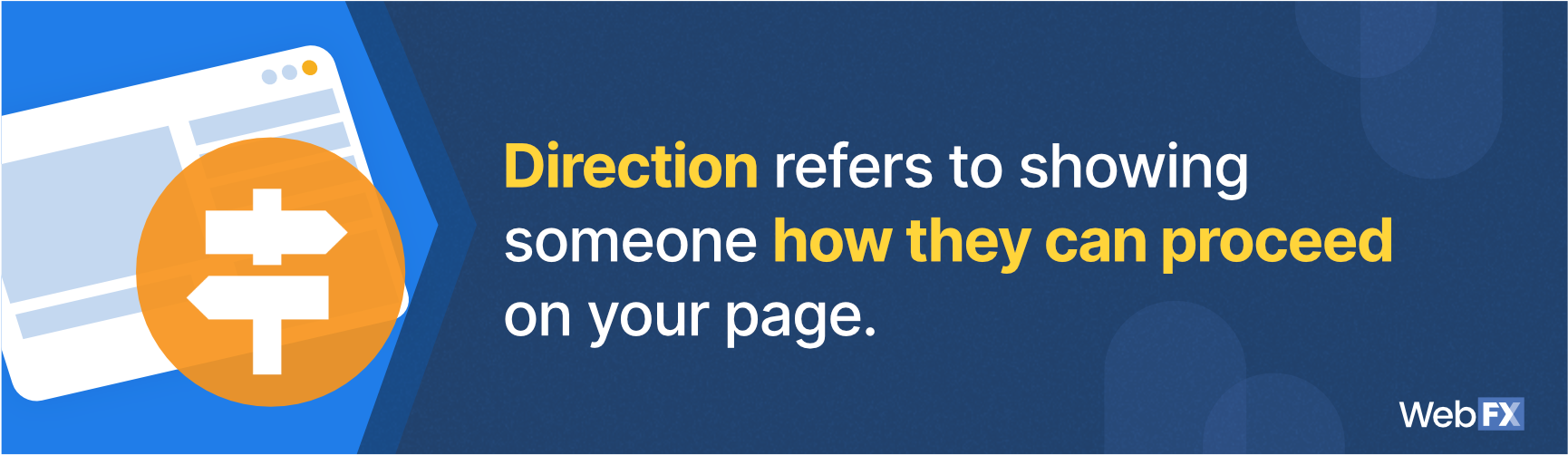 The definition of direction in website design