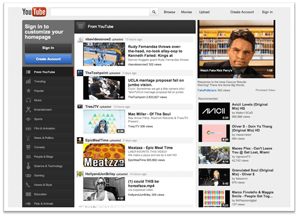 Youtube Desktop Version