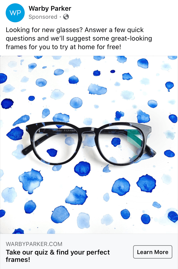 Warby Parker Facebook Ad