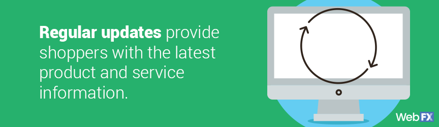 Regular updates provide shoppers with the latest product and service information