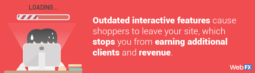 Outdated interactive features cause shoppers to leave your site, which stops you from earning additional clients and revenue