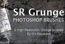 A thumbnail image that says S R grunge photoshop brushes 6 high resolution grunge brushes by six revisions.
