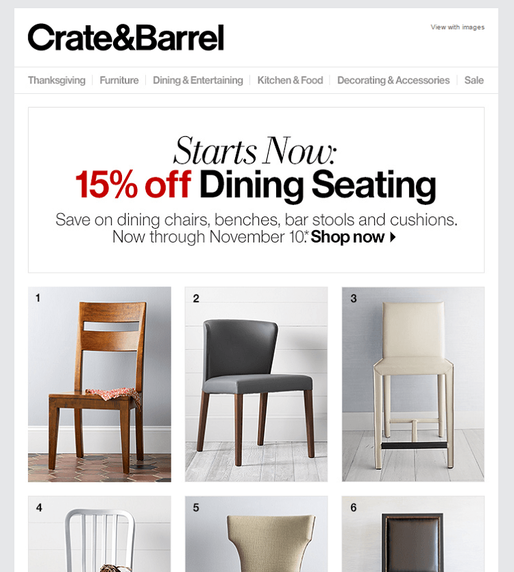 Email from Crate & Barrel