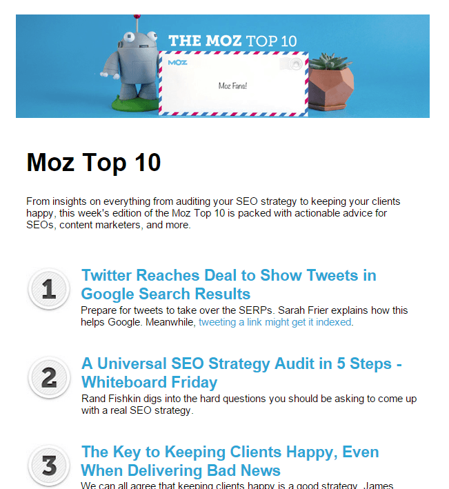 Moz Top 10 email