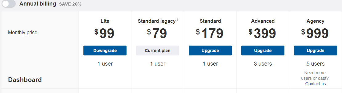 screenshot of ahrefs pricing