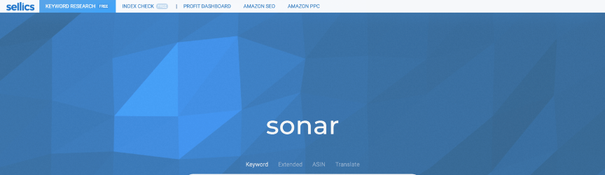 A screenshot of the Sonar homepage, an Amazon tool for keyword research