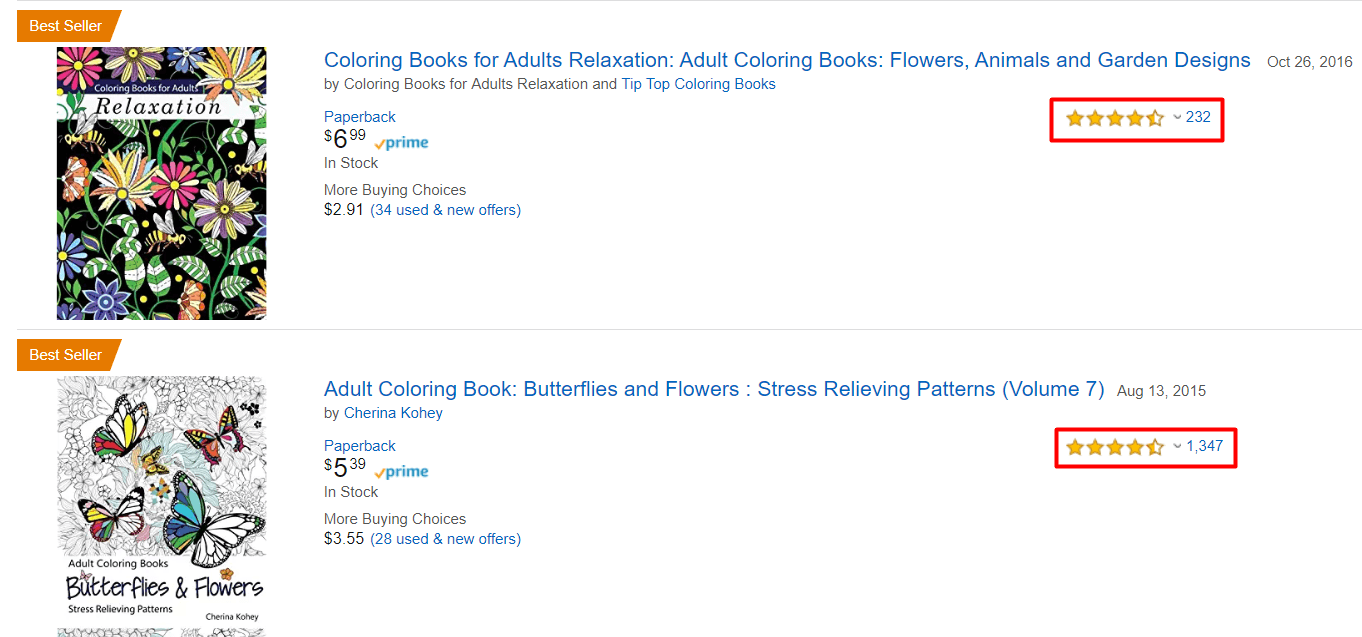 example of a listing on amazon