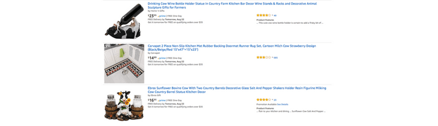 A screenshot of Amazon product titles optimized for Amazon SEO
