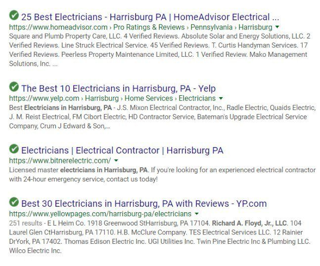 best electricians serp result