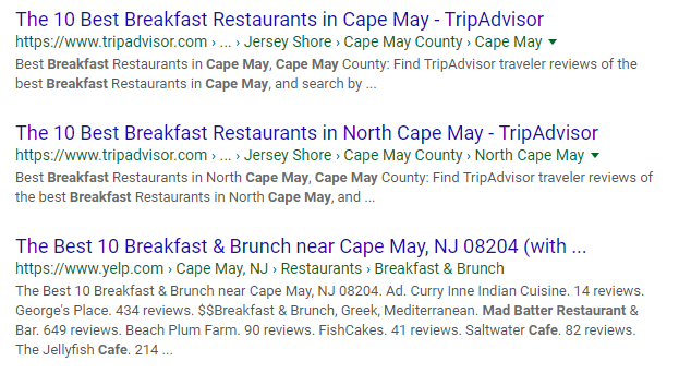 breakfast in cape may organic search result