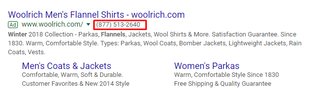 example of call extension in search results