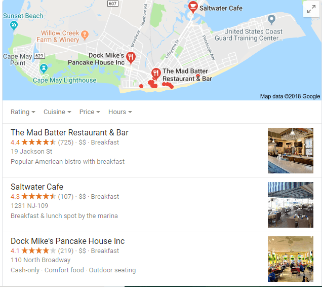 search for cape may restaurant