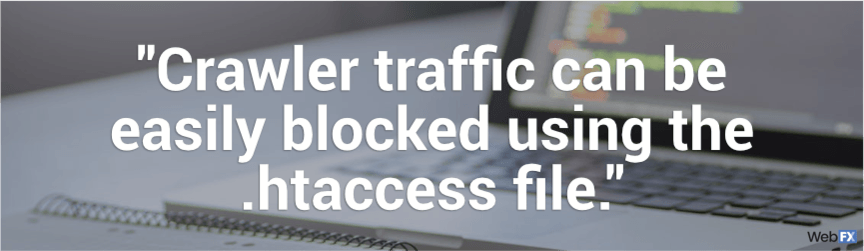 crawler traffic can be blocked using the .htaccess file