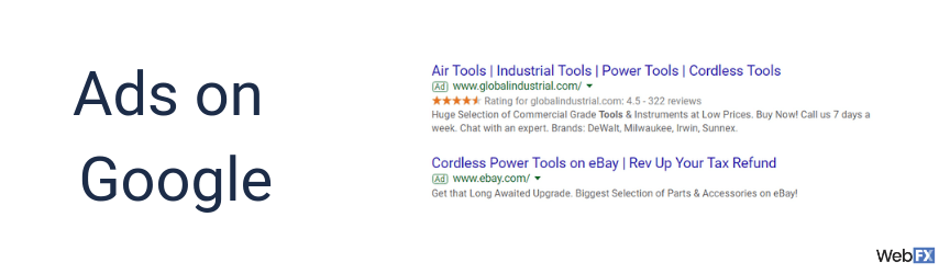 A screenshot of online ads on Google