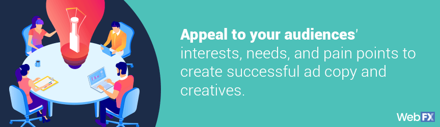 Appeal to your audience's interests, needs, and pain points to create successful ad copy and creatives