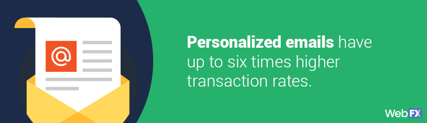 personalized emails have up to six times higher transaction rates