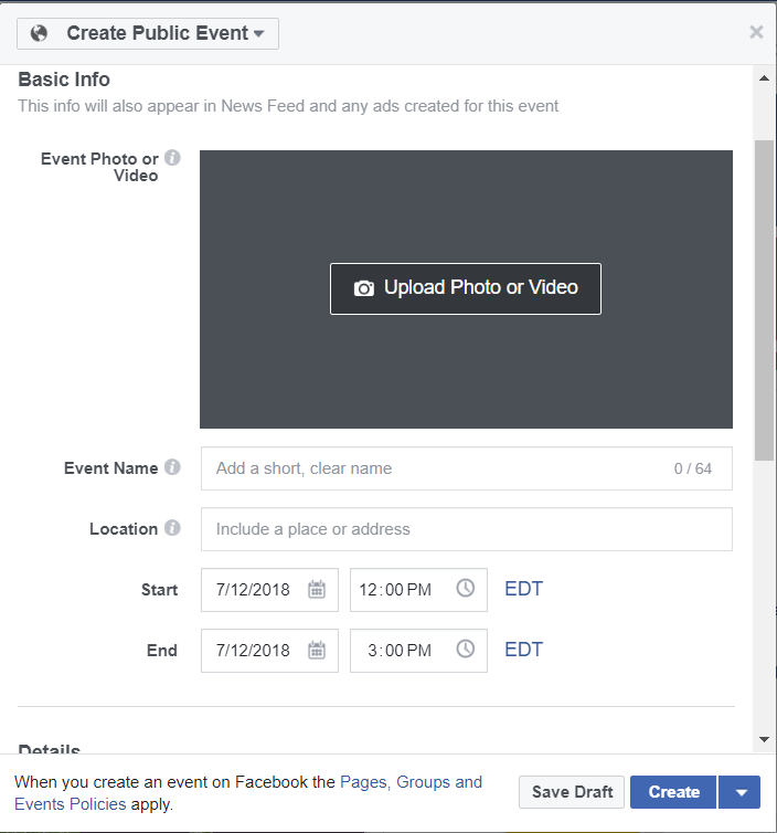 screenshot of facebook event submission form