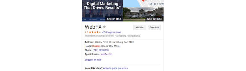A screenshot of Google My Business profile information