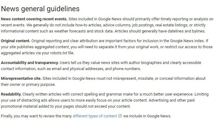 screenshot of google news guidelines