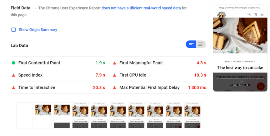 PageSpeed Insights report for a blog post