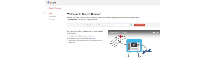 A screenshot of Google Search Console