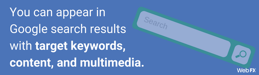 you can appear in google search results with target keywords, content, and multimedia