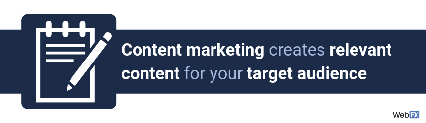 Content marketing creates relevant content for your target audience